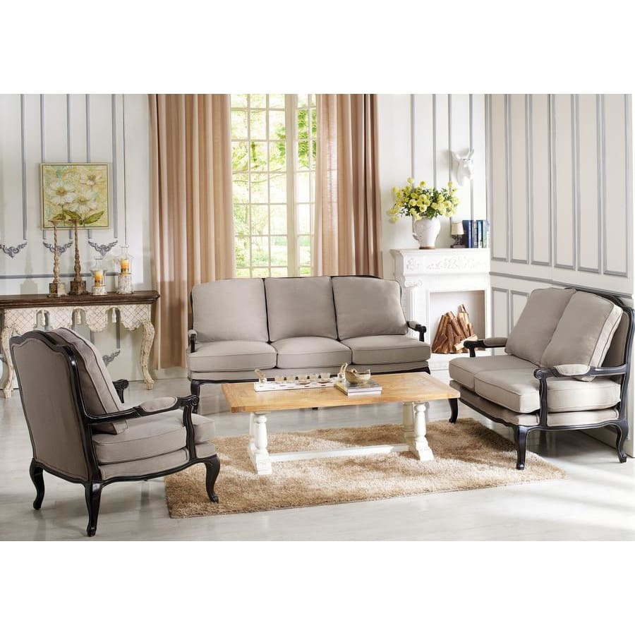 Baxton Studio Antoinette Classic Antiqued French Sofa Set - Living Room Furniture