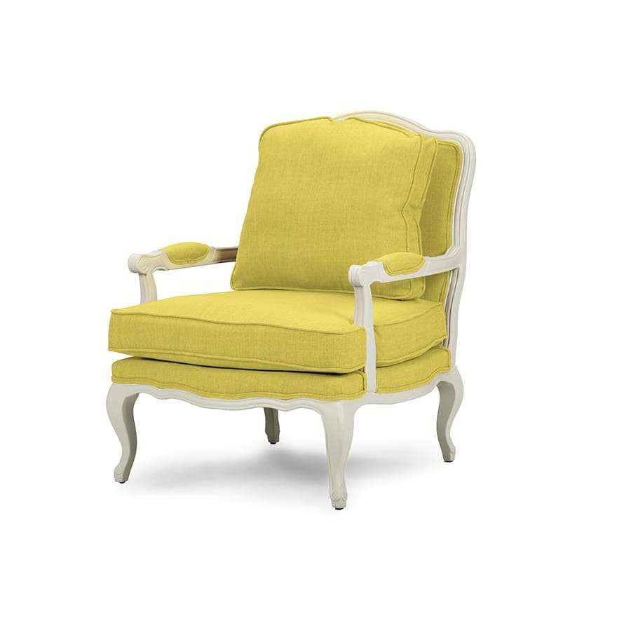 Baxton Studio Antoinette Classic Antiqued Yellow Fabric French Accent Chair - Living Room Furniture