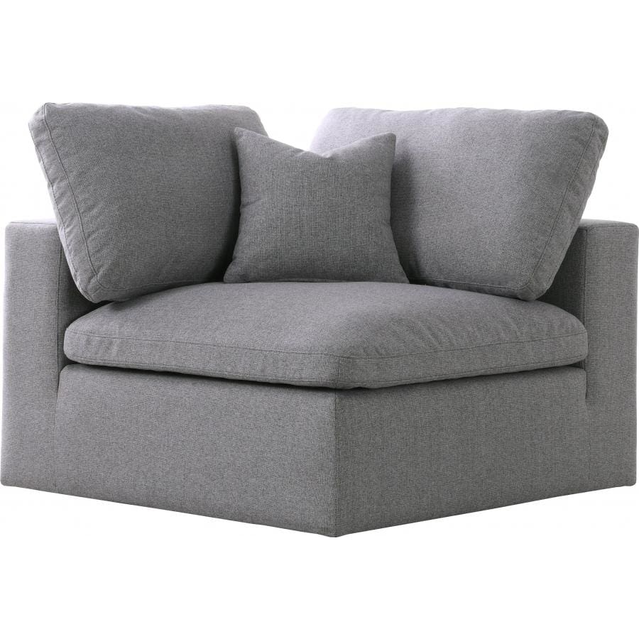 Meridian Furniture Serene Linen Deluxe Cloud Modular Down Filled Overstuffed Chair - Grey - Chairs