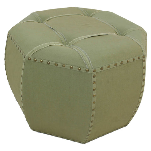 International Caravan Rustic Elegance 27-inch Octagonal Puff Ottoman with Button Tufts in Fabric - Ottomans
