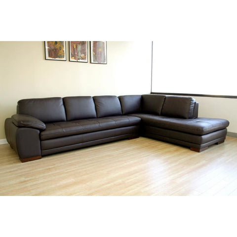 Baxton Studio Diana Dark Brown Sofa/Chaise Sectional - Living Room Furniture