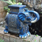 International Caravan Large Porcelain Elephant Stool - Dark Blue - Outdoor Furniture