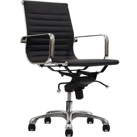 Manhattan Comfort Delancey Mid-Back Adjustable Office Chair - Black - Office Chairs