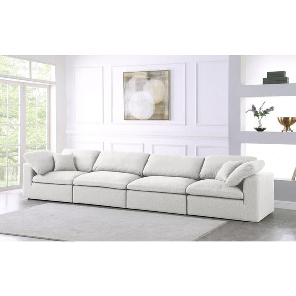 Meridian Furniture Serene Linen Deluxe Cloud Modular Down Filled Overstuffed 158 Sofa - Sofas