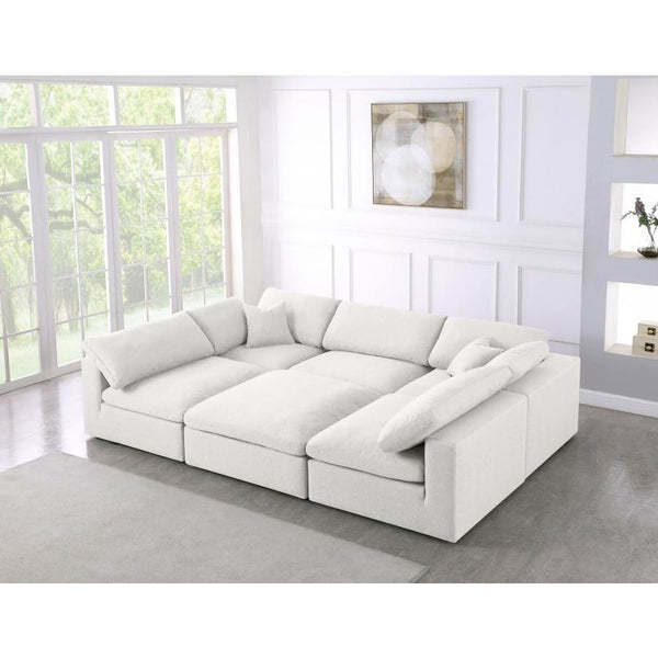 Meridian Furniture Serene Linen Deluxe Cloud Modular Down Filled Overstuffed Sectional 6C - Living Room Furniture