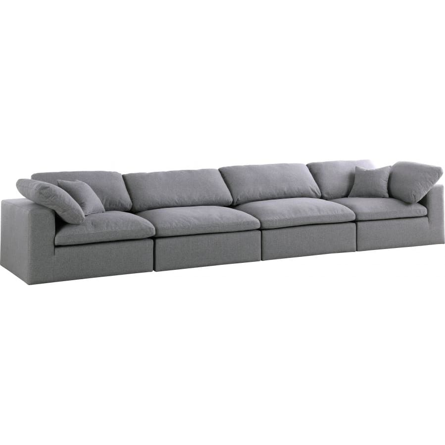 Meridian Furniture Serene Linen Deluxe Cloud Modular Down Filled Overstuffed 158 Sofa - Grey - Sofas