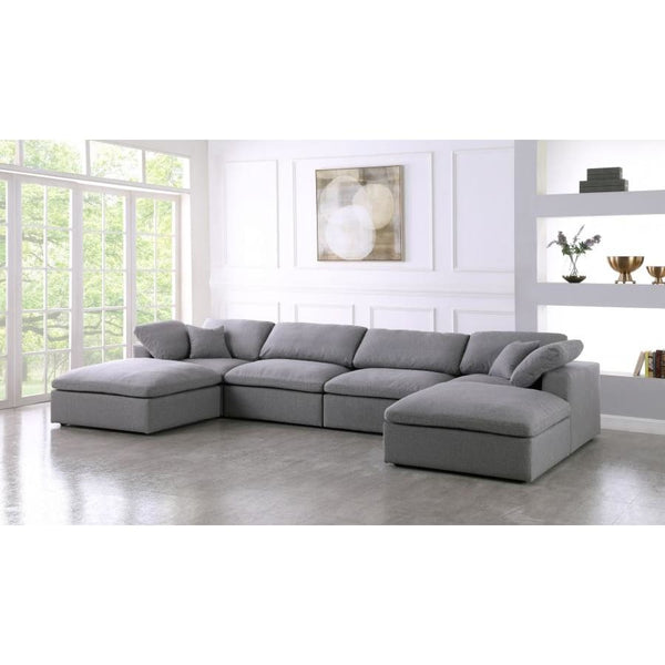 Meridian Furniture Serene Linen Deluxe Cloud Modular Down Filled Overstuffed Sectional 6B - Living Room Furniture