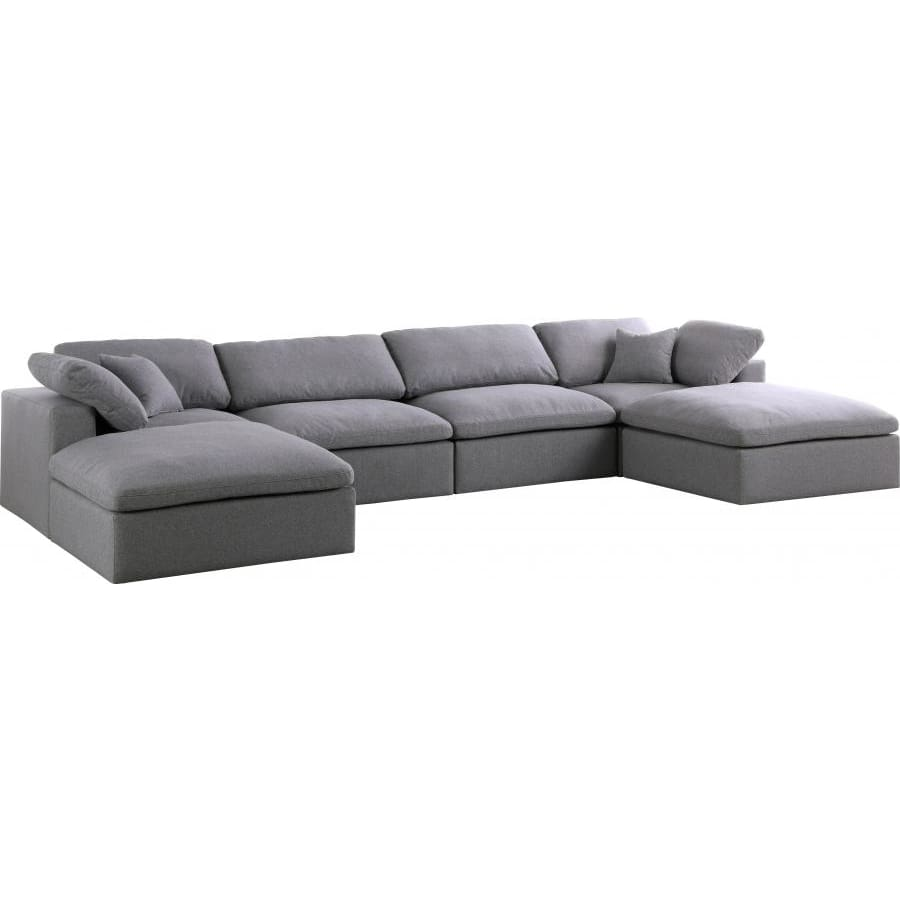 Meridian Furniture Serene Linen Deluxe Cloud Modular Down Filled Overstuffed Sectional 6B - Grey - Living Room Furniture