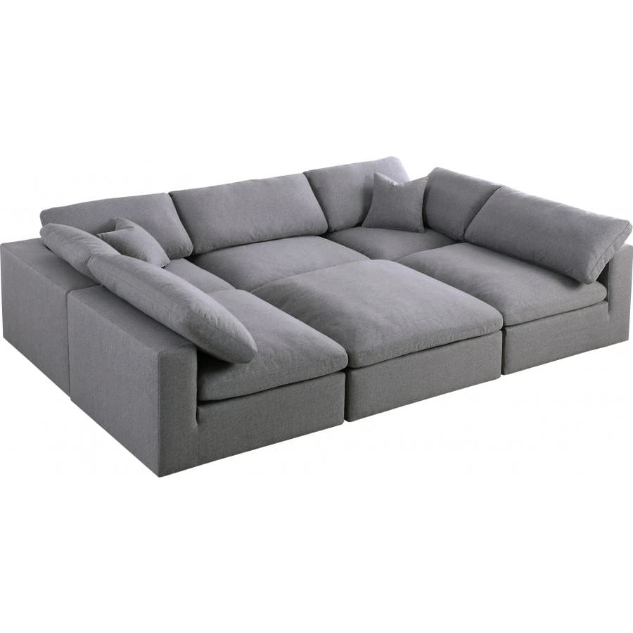Meridian Furniture Serene Linen Deluxe Cloud Modular Down Filled Overstuffed Sectional 6C - Grey - Living Room Furniture