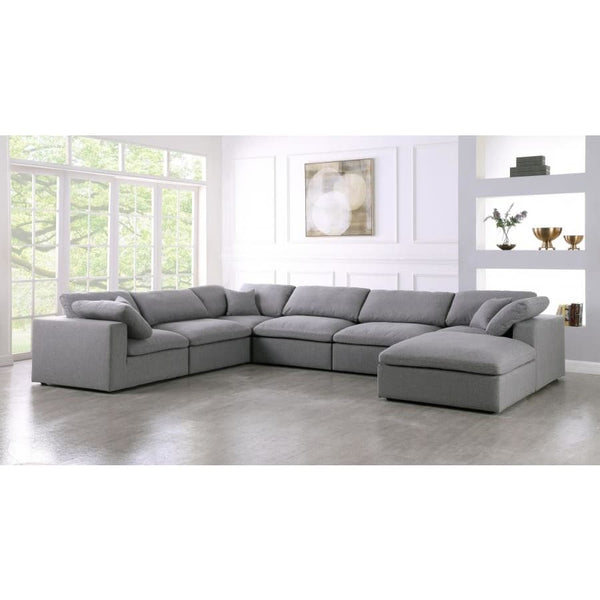 Meridian Furniture Serene Linen Deluxe Cloud Modular Down Filled Overstuffed Reversible Sectional 7A - Living Room Furniture