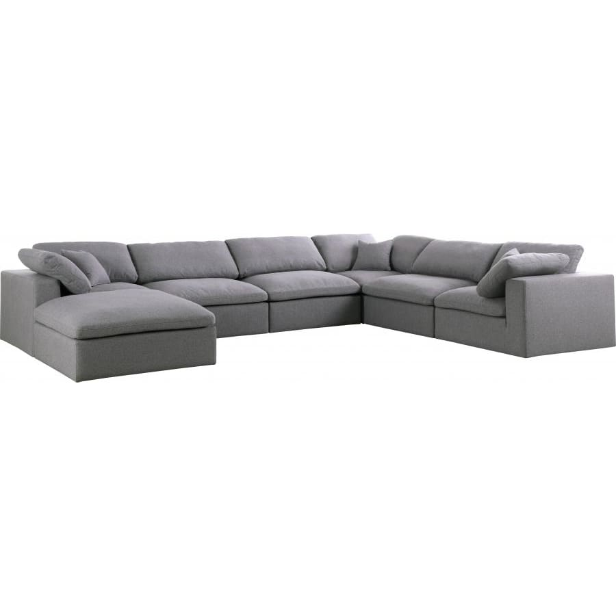 Meridian Furniture Serene Linen Deluxe Cloud Modular Down Filled Overstuffed Reversible Sectional 7A - Grey - Living Room Furniture