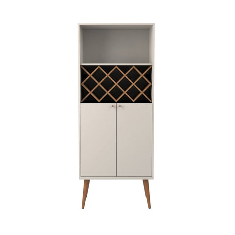 Manhattan Comfort Utopia 10 Bottle Wine Rack China Storage Closet with 4 Shelves - Off White and Maple Cream - Storage
