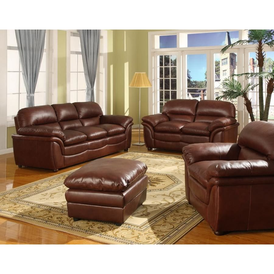 Baxton Studio Redding Cognac Brown Leather Modern Sofa Set - Living Room Furniture