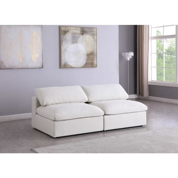Meridian Furniture Serene Linen Deluxe Cloud Modular Down Filled Overstuffed 78 Armless Sofa - Sofas