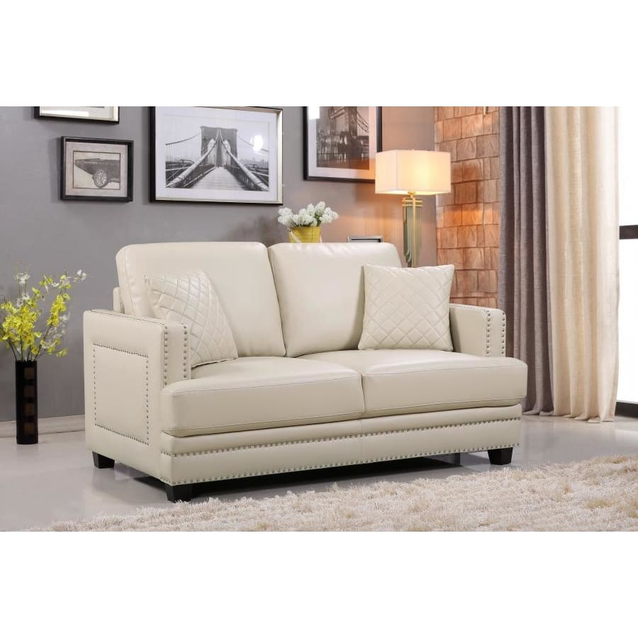 Meridian Furniture Ferrara Leather Loveseat - Beige - Loveseats