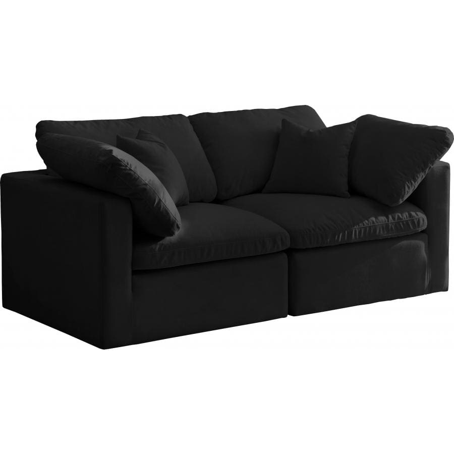 Meridian Furniture Plush Velvet Standard Cloud Modular Down Filled Overstuffed 70 Sofa - Black - Sofas