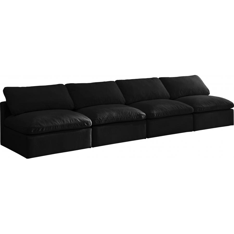 Meridian Furniture Plush Velvet Standard Cloud Modular Down Filled Overstuffed 140 Armless Sofa - Black - Sofas