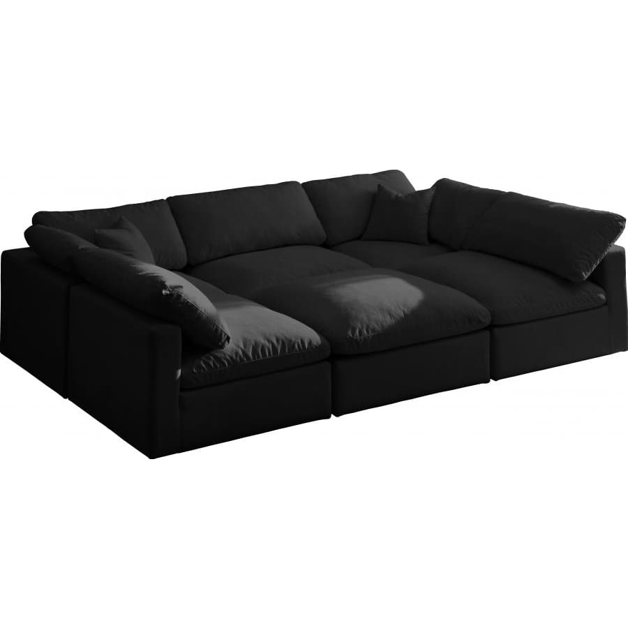 Meridian Furniture Plush Velvet Standard Cloud Modular Down Filled Overstuffed Reversible Sectional 6C - Black - Living Room Furniture