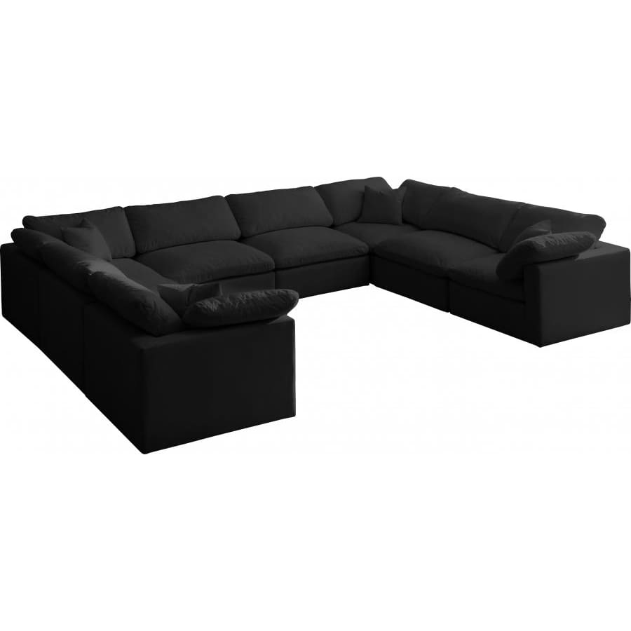 Meridian Furniture Plush Velvet Standard Cloud Modular Down Filled Overstuffed Reversible Sectional 8A - Black - Living Room Furniture
