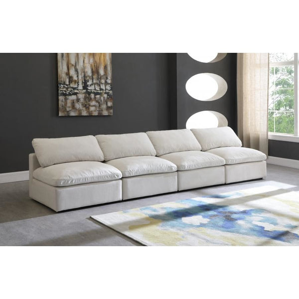 Meridian Furniture Plush Velvet Standard Cloud Modular Down Filled Overstuffed 140 Armless Sofa - Sofas
