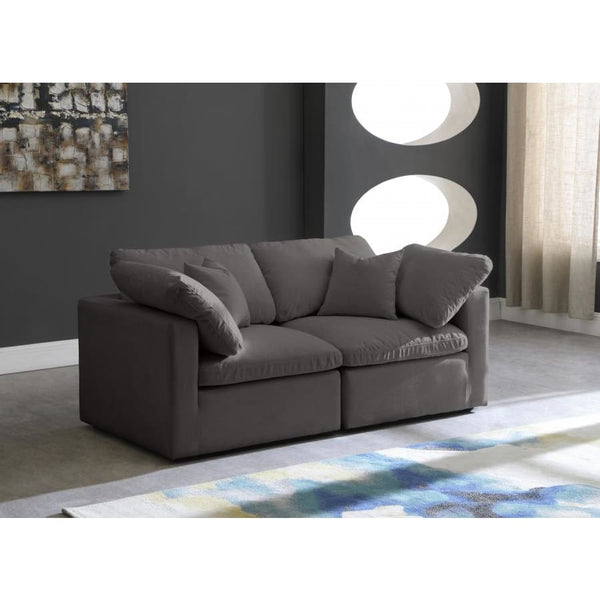 Meridian Furniture Plush Velvet Standard Cloud Modular Down Filled Overstuffed 70 Sofa - Sofas