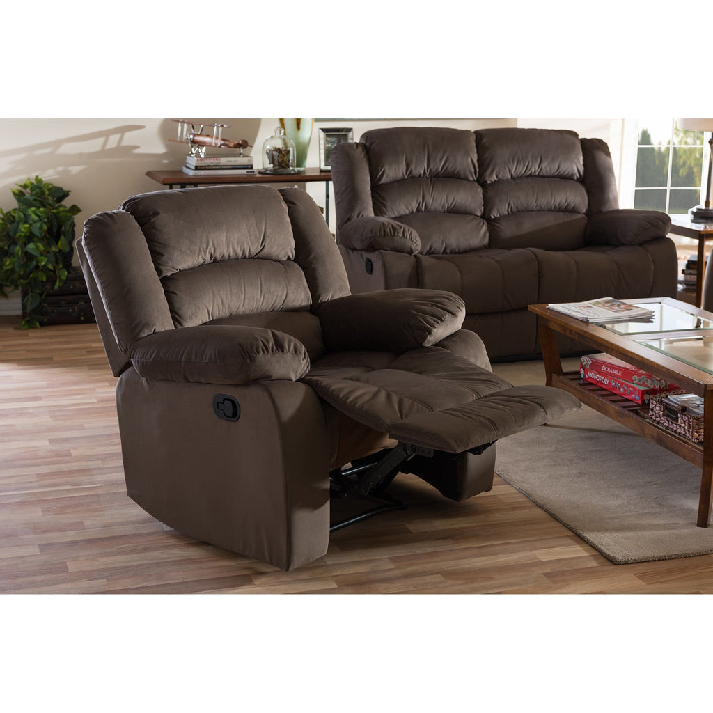 Baxton Studio Hollace Modern and Contemporary Taupe Microsuede 1-Seater Recliner - Living Room Furniture