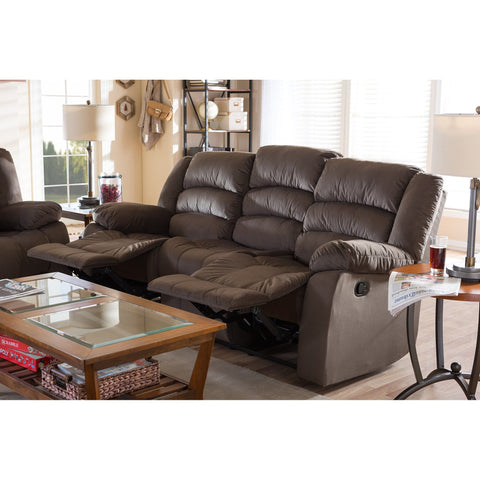 Baxton Studio Hollace Modern and Contemporary Taupe Microsuede 3-Seater Recliner - Living Room Furniture
