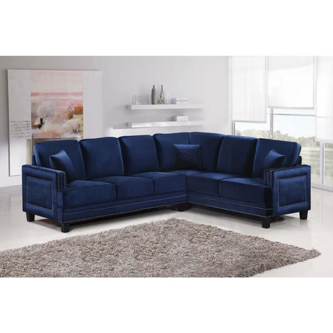 Meridian Furniture Ferrara Velvet 2Pc. Sectional Sofa (LAF & RAF) - Blue - Sofas