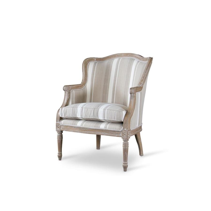 Baxton Studio Charlemagne Traditional French Accent ChairOak (Brown Stripe) - Living Room Furniture