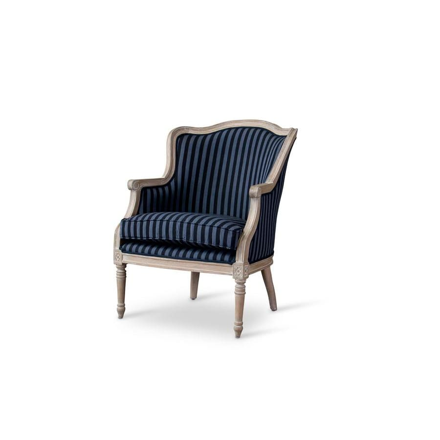 Baxton Studio Charlemagne Traditional French Black and Grey Striped Accent Chair - Living Room Furniture