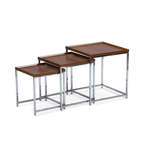 Baxton Studio Adelina 3-piece Wood Top Chrome Base Nesting Table Set - Living Room Furniture