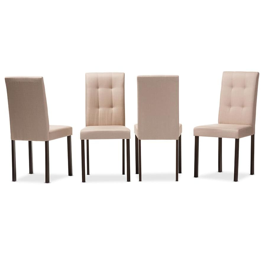 Baxton Studio Andrew Modern and Contemporary Beige Fabric Upholstered Grid-tufting Dining Chair - Dining Room