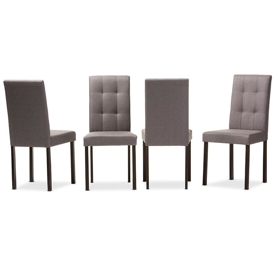 Baxton Studio Andrew Modern and Contemporary Grey Fabric Upholstered Grid-tufting Dining Chair - Dining Room