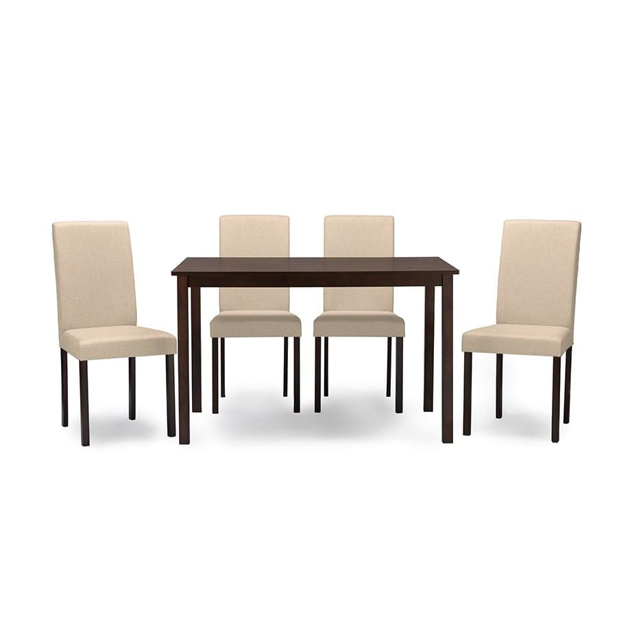 Baxton Studio Andrew Contemporary Espresso Wood Beige Fabric 5 PC Dining Set - Dining Room