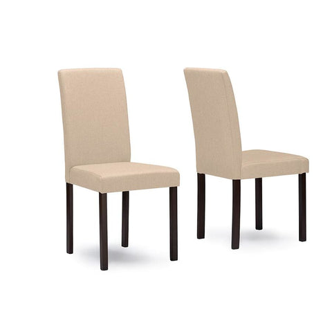 Baxton Studio Andrew Contemporary Espresso Wood Beige Fabric Dining Chair - Dining Room