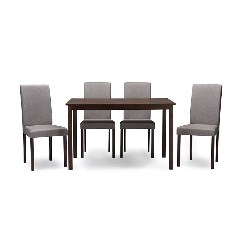 Baxton Studio Andrew Contemporary Espresso Wood Grey Fabric 5PC Dining Set - Dining Room