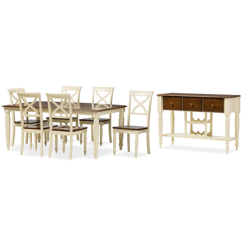 Baxton Studio Ashton Modern Country Cottage Buttermilk and Walnut Wood Finishing 8-Piece Dining Set with 18-Inch Butterfly Extension Leaf -