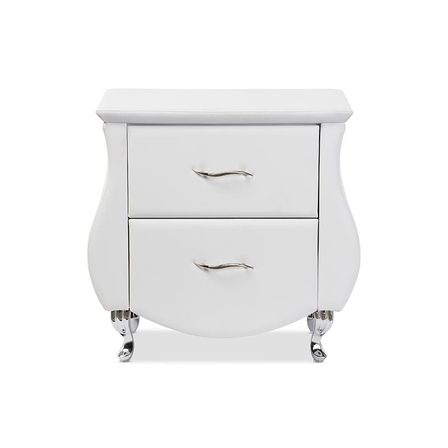 Baxton Studio Erin Modern and Contemporary White Faux Leather Upholstered Nightstand - Bedroom Furniture