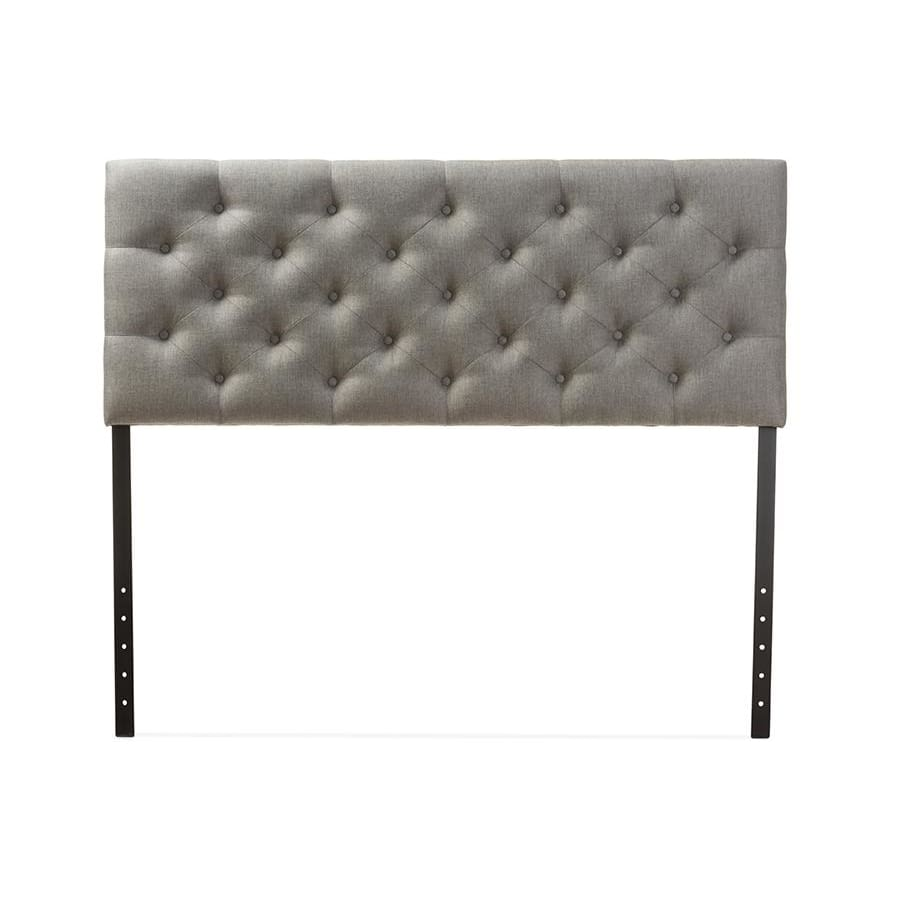 Baxton Studio Viviana Modern and Contemporary Grey Fabric Upholstered Button-tufted Queen Size Headboard - Bedroom Furniture