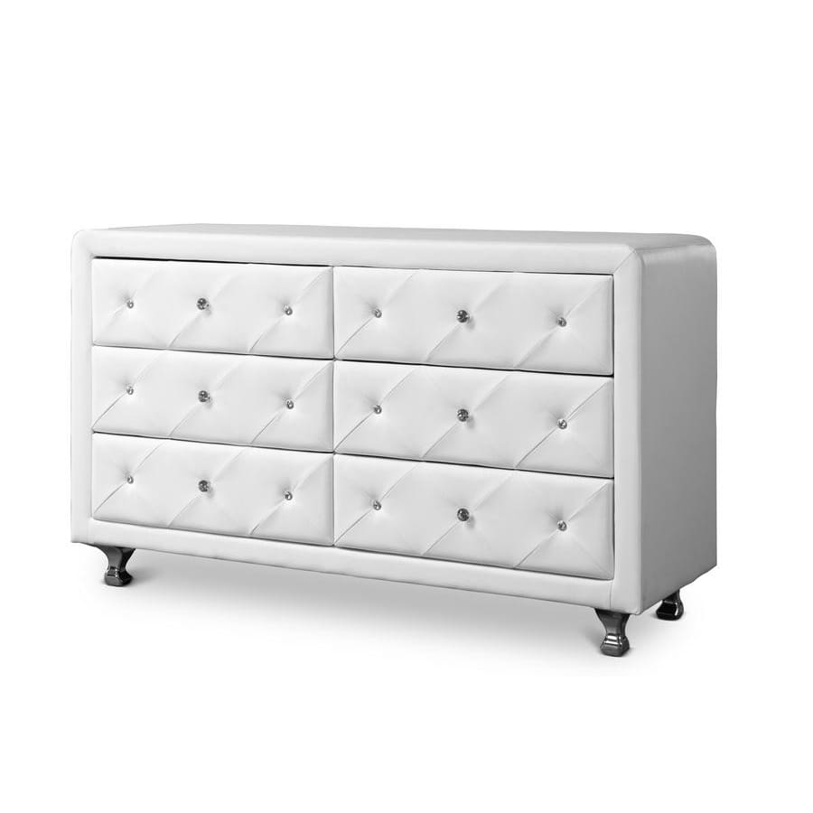 Baxton Studio Luminescence White Faux Leather Upholstered Dresser - Bedroom Furniture