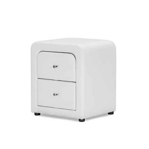 Baxton Studio Bourbon White Faux Leather Upholstered Modern Nightstand - Bedroom Furniture