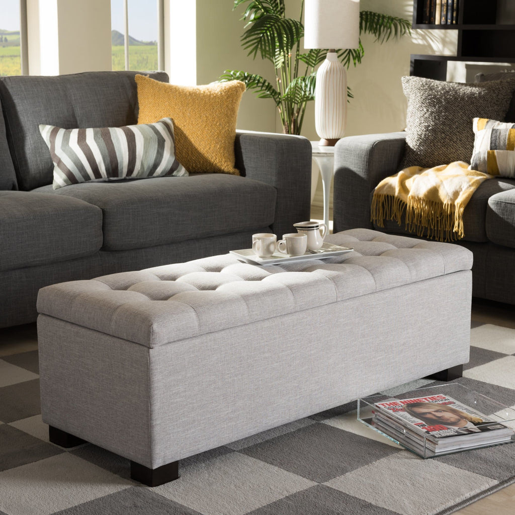 Baxton Studio Roanoke Modern and Contemporary Grayish Beige Fabric Upholstered Grid-Tufting Storage Ottoman Bench - Bedroom Furniture