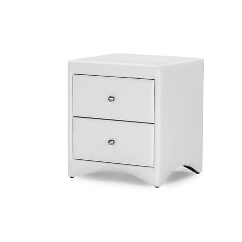 Baxton Studio Dorian White Faux Leather Upholstered Modern Nightstand - Bedroom Furniture