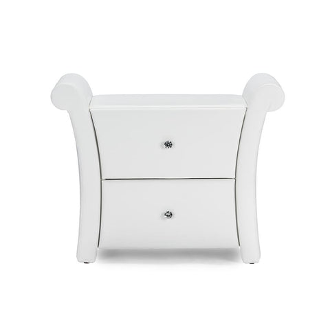 Baxton Studio Victoria Matte White PU Leather 2 Storage Drawers Nightstand Bedside Table - Bedroom Furniture