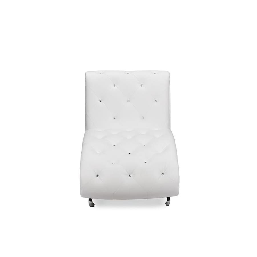 Baxton Studio Pease Contemporary White Faux Leather Upholstered Crystal Button Tufted Chaise Lounge - Living Room Furniture