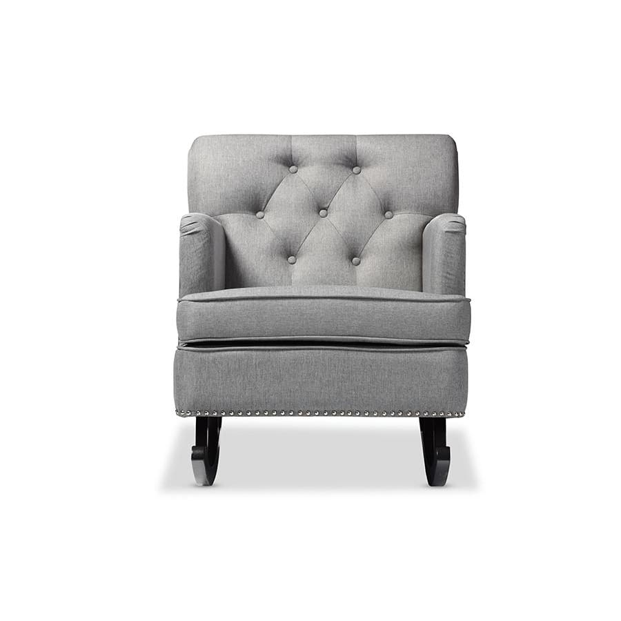 Baxton Studio Bethany Modern and Contemporary Grey Fabric Upholstered Button-tufted Rocking Chair - Nursery Furniture