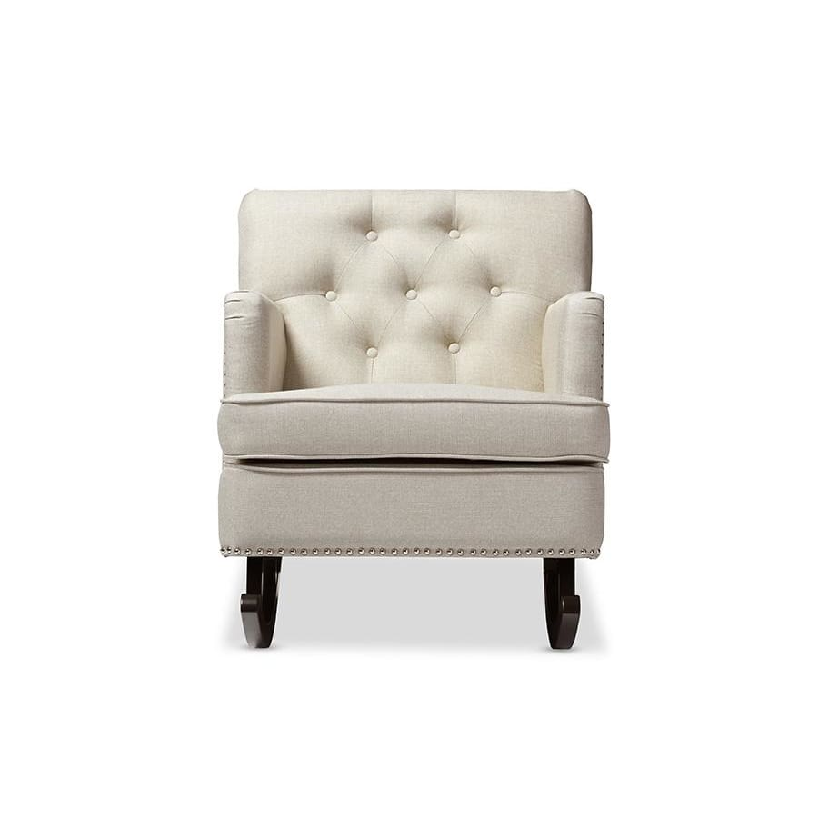 Baxton Studio Bethany Modern and Contemporary Light Beige Fabric Upholstered Button-tufted Rocking Chair - Nursery Furniture