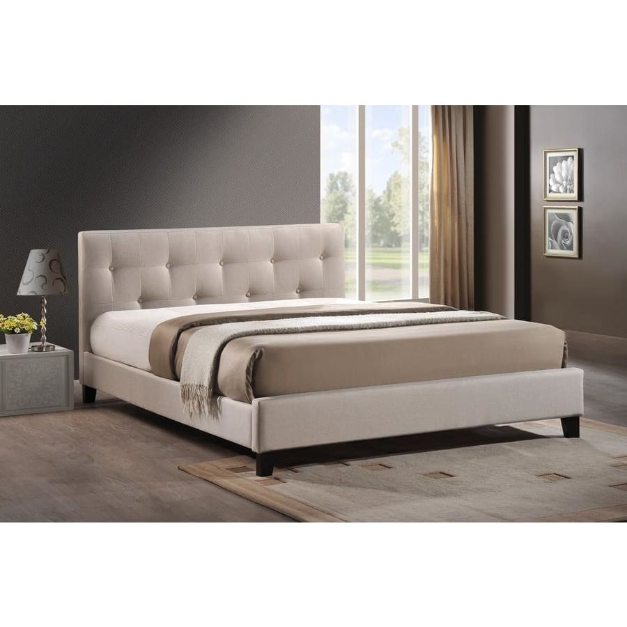 Baxton Studio Annette Light Beige Linen Modern Bed with Upholstered Headboard - Full Size - Bedroom Furniture