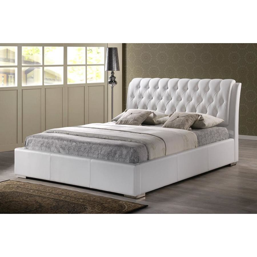 Baxton Studio Bianca White Modern Bed with Tufted Headboard (King Size) - Bedroom Furniture