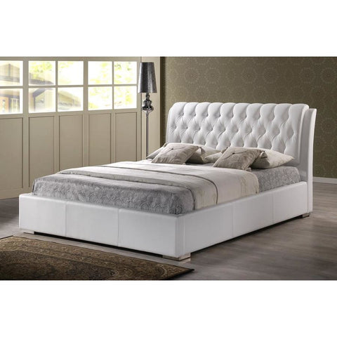 Baxton Studio Bianca White Modern Bed with Tufted Headboard (Queen Size) - Bedroom Furniture